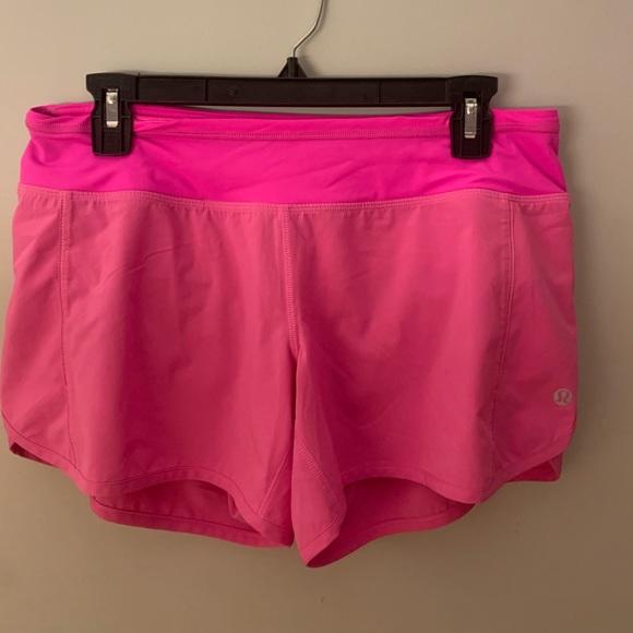 """Lululemon pink speed up shorts 4"""""""